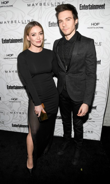 January 28: Public debut! Hilary Duff and her boyfriend Matthew Koma made their first public appearance as a couple at the Entertainment Weekly Celebration of SAG Award Nominees. The pair coordinated in black ensembles, with Hilary wearing a Haney dress, Nicholas Kirkwood shoes, Kavant and Sharart jewelry, and accessorizing with a Jimmy Choo clutch. The event, which was sponsored by Maybelline New York, took place at Chateau Marmont in L.A.