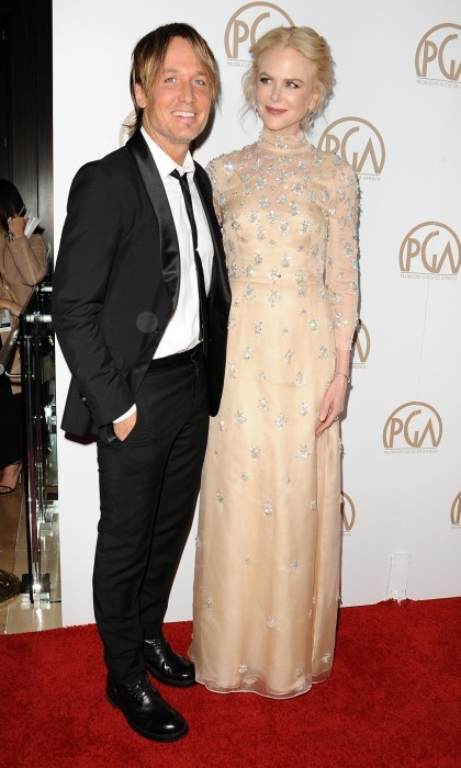 January 28: A sparkly Nicole Kidman couldn't keep her eyes off husband Keith Urban as they hit the 28th annual Producers Guild Awards carpet at The Beverly Hilton Hotel in Beverly Hills. The <i>Lion</i> actress stunned in a cream colored gown.