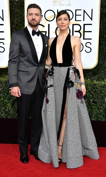 The perfect pair! Justin and his leading lady coordinated in black and grey during the 2017 Golden Globes in Beverly Hills. Justin coordinated his tux by Tom Ford with Jessica Biel's Elie Saab gown.   