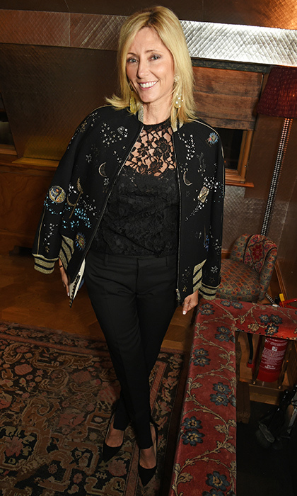 Crown Princess Marie Chantal of Greece rocked an on-trend embellished bomber jacket at the Farms Not Factories #TurnYourNoseUp benefit dinner in London, England. 
