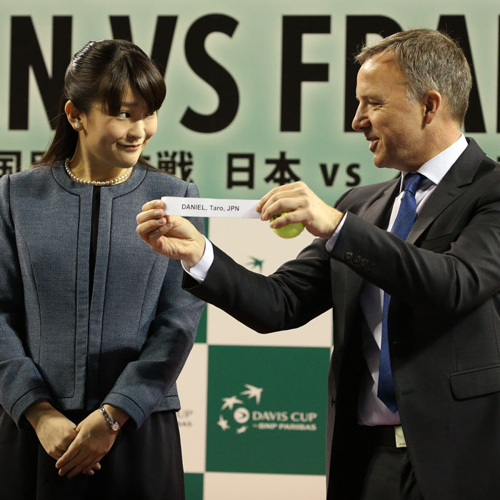 Princess Mako of Akishino of Japan helped ITF supervisor Soeren Friemel of Germany carry out the official draw ceremony ahead of the World Group Davis Cup tie between Japan and France in Tokyo, Japan. 