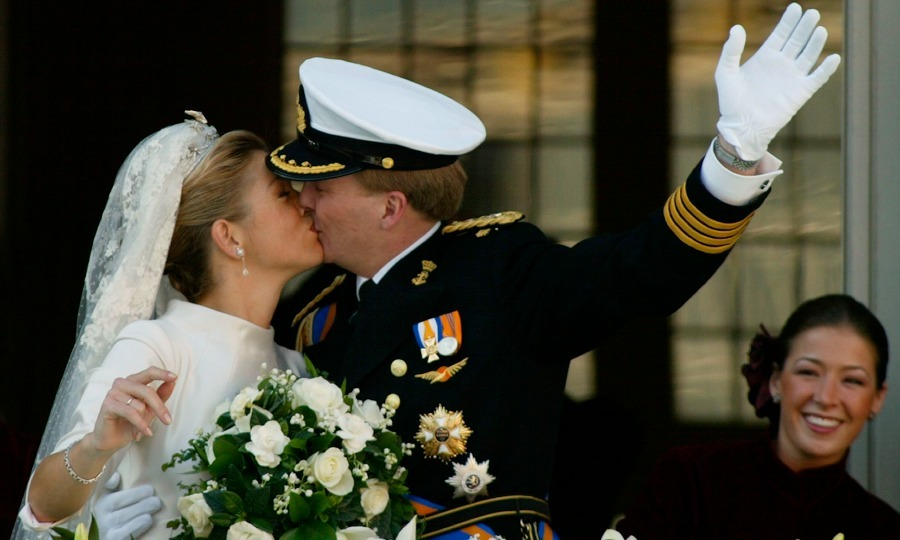 Willem-Alexander showed off his new bride on the balcony of the Royal Palace. The couple, who are now parents to Princess Ariane, Catharina-Amalia, Princess of Orange and Princess Alexia of the Netherlands, shared their first public kiss. 