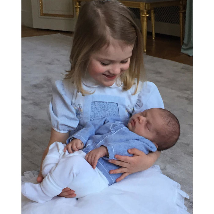 "Prince Daniel captured this tender photo of Estelle doting on her then-newborn brother following his March 2016 birth. Attached to the picture, the Crown Princess couple released a statement that read: ""We would like to convey our sincere gratitude for all the kind greetings and congratulations we have received in connection with Princess Estelle's birthday and the birth of Prince Oscar. We genuinely appreciate your kindness and that so many of you share our happiness.""