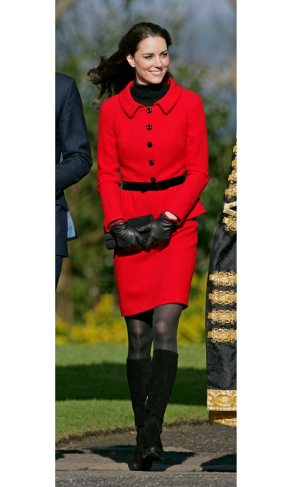 Perhaps one of her favorite ensembles in her wardrobe, Kate Middleton has worn this vibrant, red skirt suit by Luisa Spagnoli for a record four times. The Duchess first wore the stylish piece back in 2011 while visiting her old university St Andrews with Prince William. 