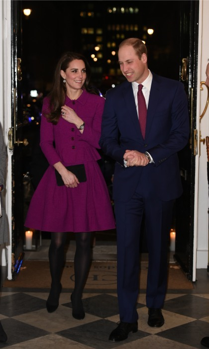 Kate stepped out, with William by her side, in a magenta coat dress by Oscar de la Renta during the Guild of Health Writers Conference with Heads Together in London. 