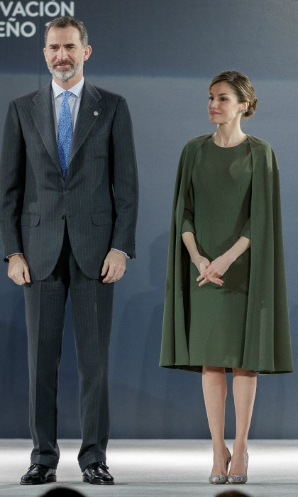 Queen Letizia wore an olive green cape dress during the Innovation and Design Awards in Alcala de Henares, Spain. 
