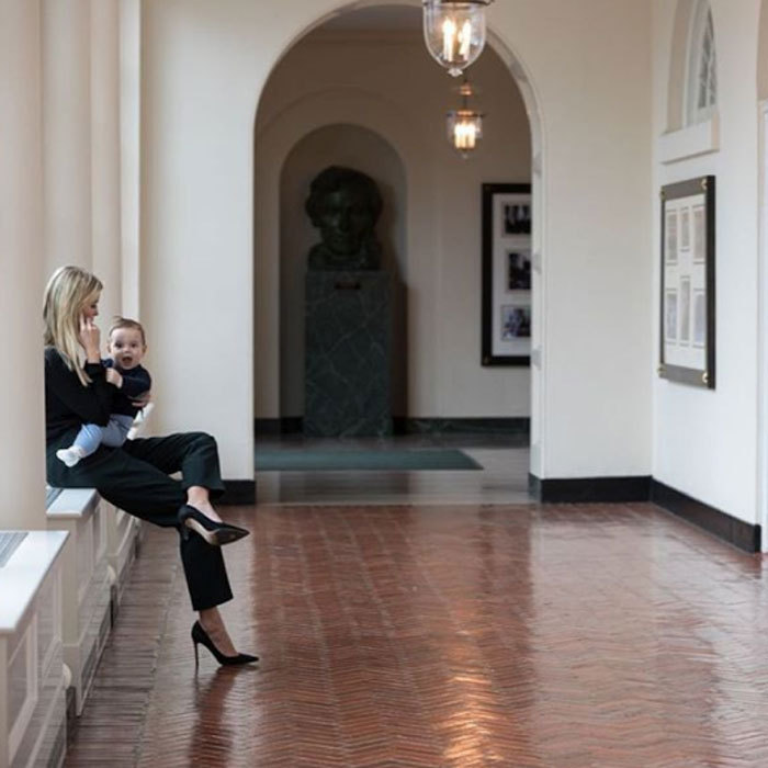 "The first daughter has the cutest assistant around. Sharing a picture with her baby boy, Ivanka wrote, ""Taking a call in the White House with my personal assistant Theodore.""