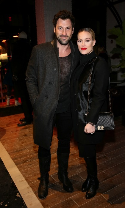 New parents Maksim Chmerkovskiy and Peta Murgatroyd attended the VALENTINNICOLE runway show. 