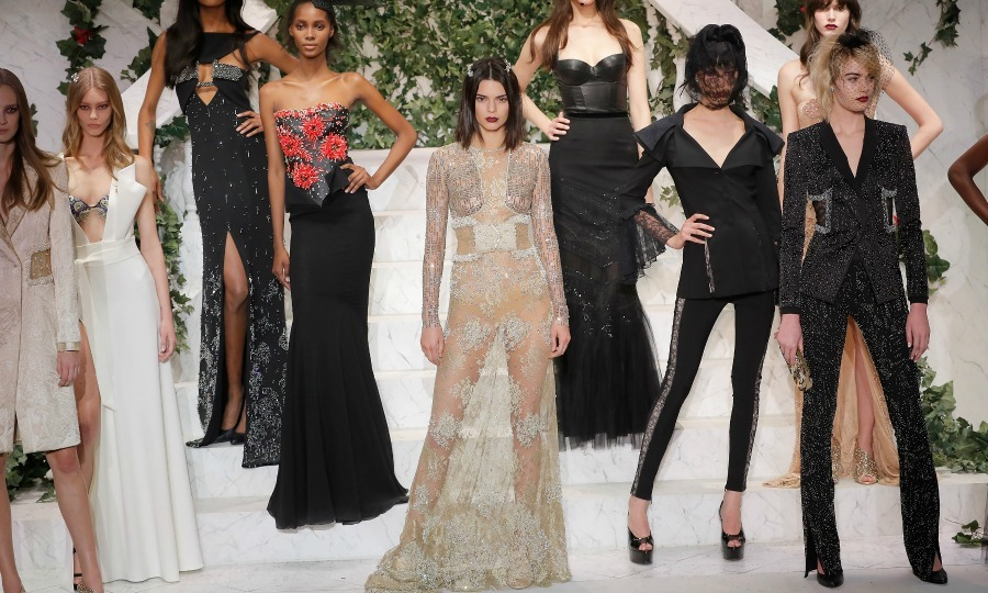 Kendall Jenner took center stage in a sheer lace ensemble during the La Perla Fall/Winter 2017 RTW Show. 