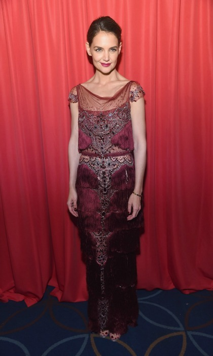 Katie Holmes wore a fringe Marchesa gown during the American Heart Association's Red Dress Collection fashion show.