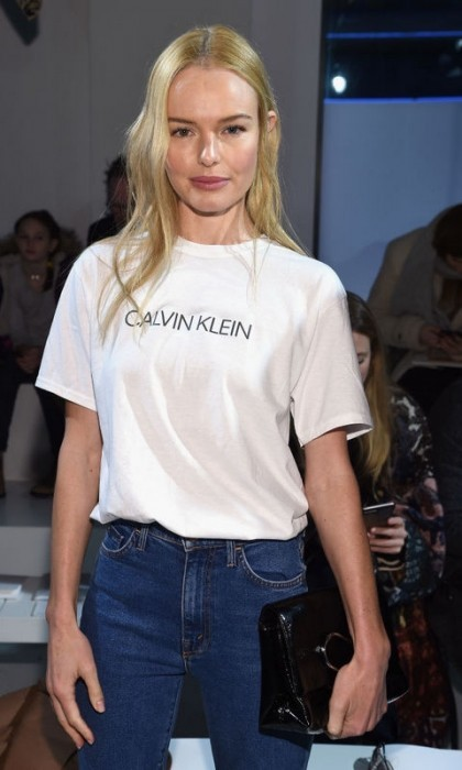 Kate Bosworth showed off the new Calvin Klein logo during the brand's runway show.