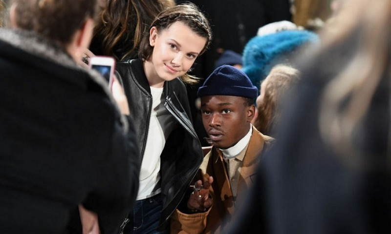 Millie Bobby Brown and Ashton Sanders were front row buds at the Calvin Klein show.