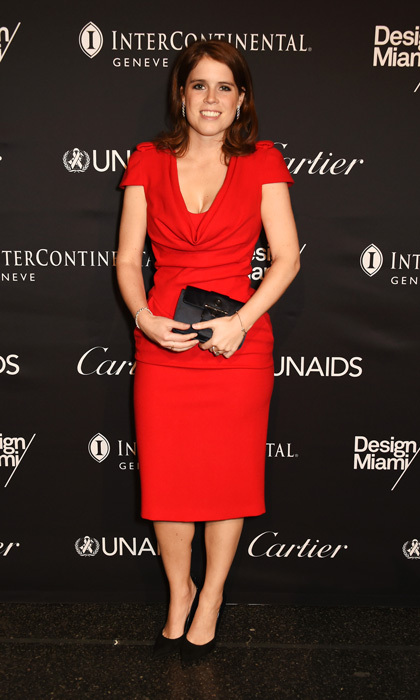 Princess Eugenie of York wowed in a figure-hugging midi dress by Alexander McQueen at the 2016 UNAIDS Gala during Art Basel 2016 in Basel, Switzerland. 