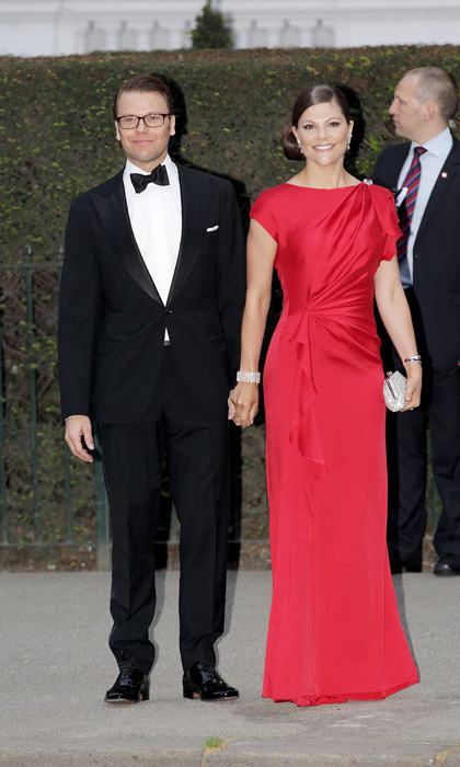 Crown Princess Victoria was the picture of elegance donning a full-length silk gown to Prince William and Kate Middleton's pre-wedding dinner gala in 2011.