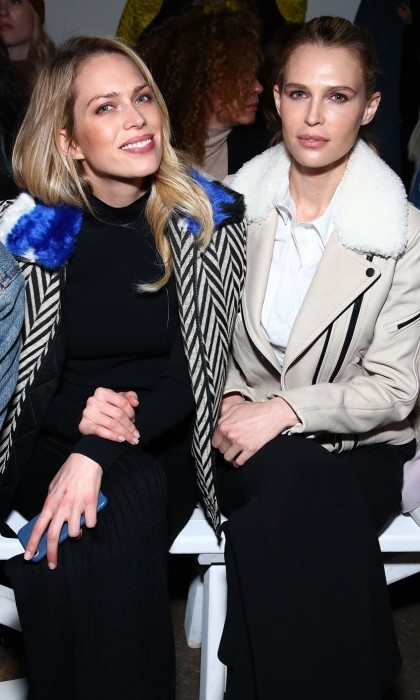 Erin and Sara Foster got in some sibling bonding time, front row at the Milly show.