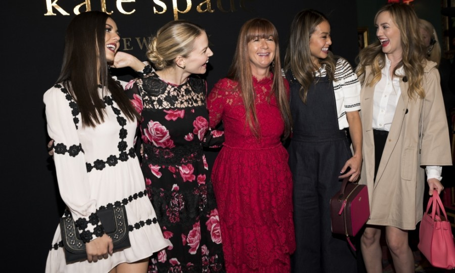 Victoria Justice, Jennifer Morrison, Deborah Lloyd (Kate Spade's chief creative officer), Jamie Chung and Leighton Meester were stylish and playful as they posed together at the Kate Spade show.