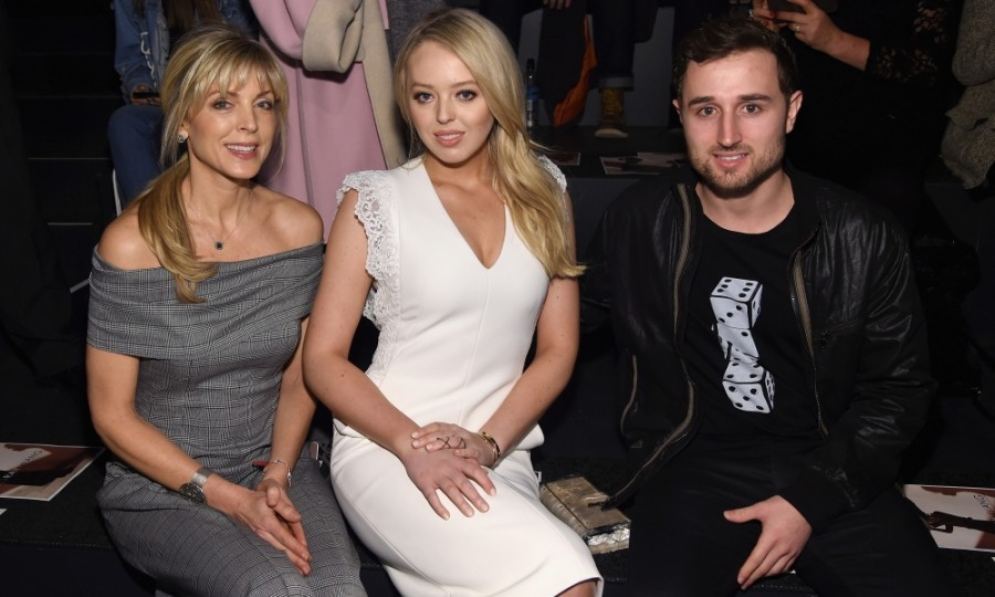 Tiffany Trump enjoyed the Taoray Wang collection with her mom, Marla Maples, and boyfriend, Ross Mechanic. They supported the Chinese designer, who designed Tiffany's white coat and matching dress for Inauguration Day.