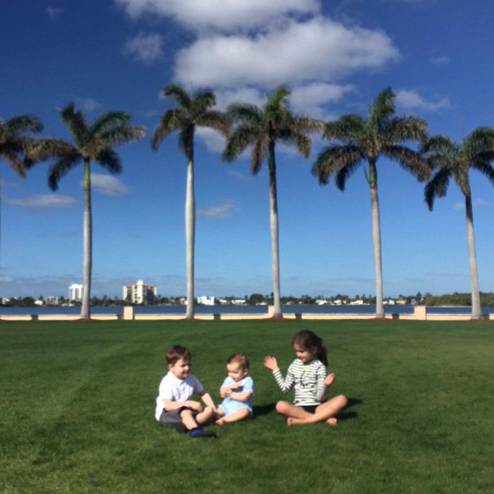 The first daughter shared an out of focus shot of her three children playing together in Palm Beach. The doting mom simply captioned the photo with three red hearts.