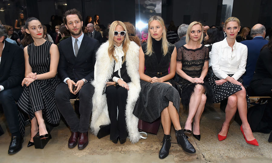 FROW goals. Emmy Rossum, Derek Blasberg, Rachel Zoe, Karolína Kurkova, Christina Ricci and Nicky Hilton Rothschild looked impossibly stylish sitting front row at the Carolina Herrera Collection show.