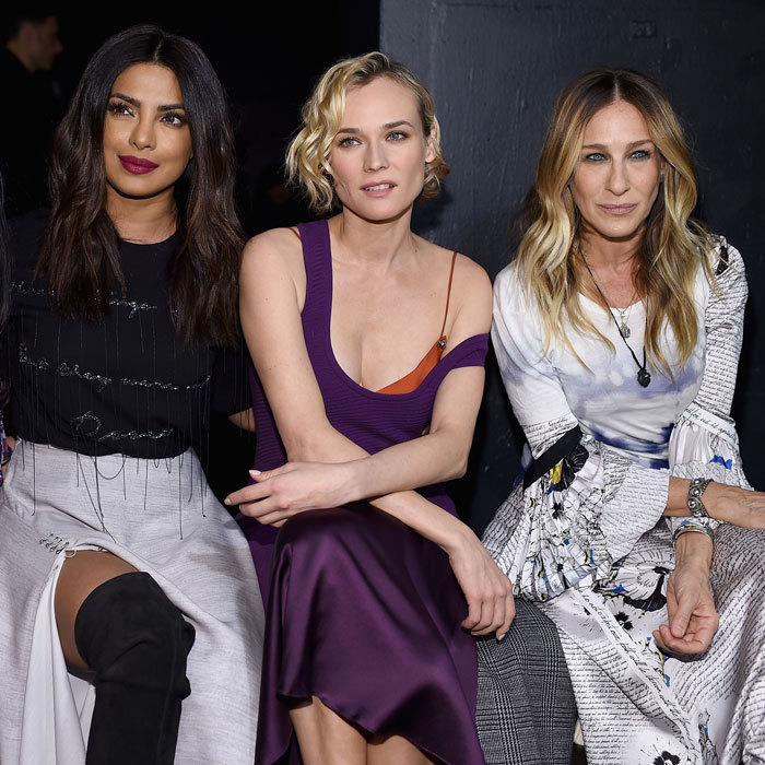 Priyanka Chopra, Diane Kruger and Sarah Jessica Parker made a chic trio at the Prabal Gurung show.