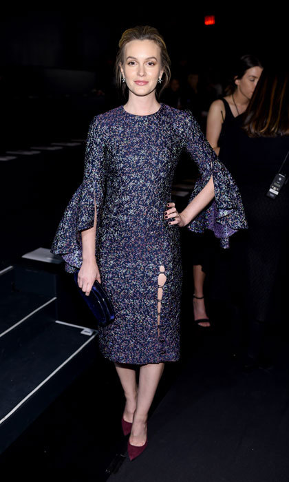 Blair Waldrof would be proud. Leighton Meester turned heads in a purple frock at the Prabal Gurung fashion show. 