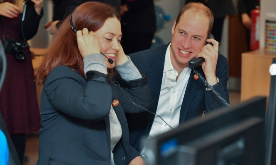 It was back to business for Prince William the day after the BAFTAs with Kate Middleton. The British royal picked up the phone with Councillor Carys Lewis as he officially launched the Centrepoint Helpline in London.