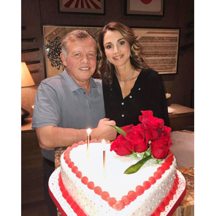 "Love is in the air! Queen Rania celebrated Valentine's Day with her husband King Abdullah. Sharing a picture with her Valentine and their enormous heart-shaped cake, the Jordanian monarch wrote, ""May your hearts and homes always be filled with love and peace #Love.""