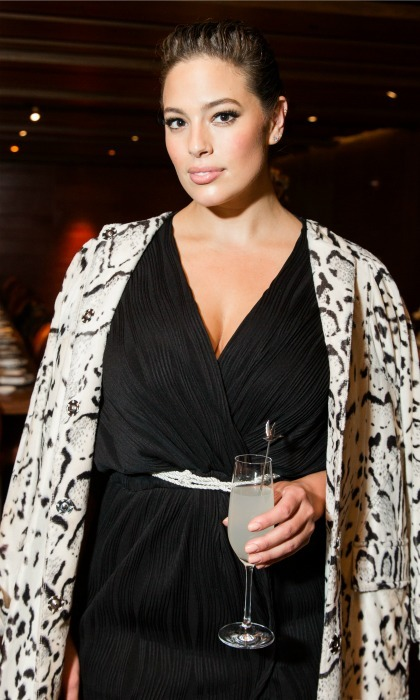 Ashley Graham added a stylish cocktail to her attire during the Grey Goose toasts Prabal Gurung's Fall/Winter '17 collection at Zuma. 