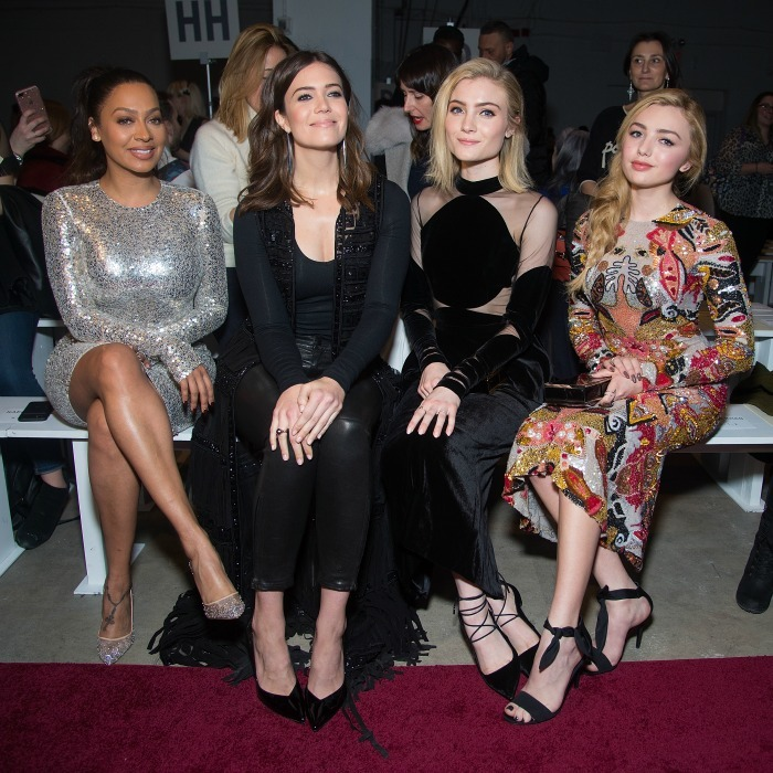 La La Anthony, Mandy Moore, Skylar Samuels and Peyton List sat front row during the Naeem Khan runway show. 