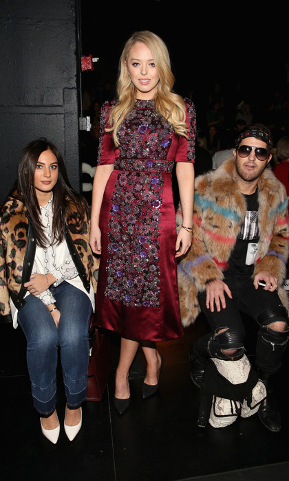 The first daughter dazzled in a colorful, embellished midi frock at the Dennis Basso show.