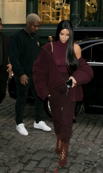 Kim Kardashian and Kanye West made a stylish pair as they made their way around the streets of NYC ahead of Kanye's Yeezy Seeason 5 runway show. 