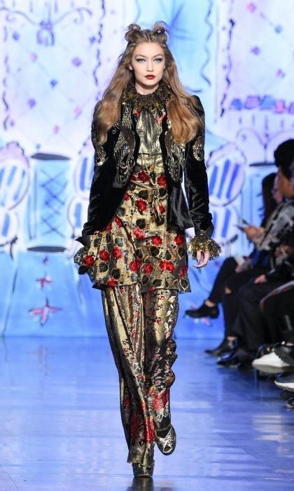 Gigi Hadid shared the runway with her sister Bella and BFF Kendall Jenner during the Anna Sui show. 