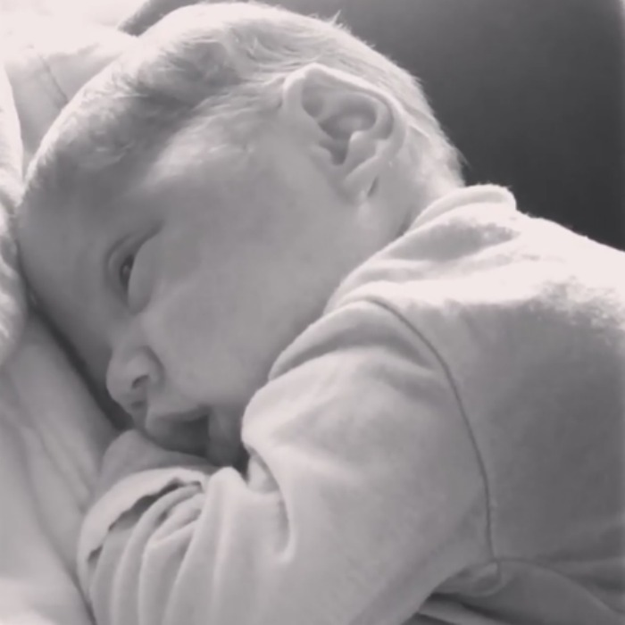 "Nick and Vanessa Lachey's baby boy made his grand entrance to the world of social media, in a cute clip posted by his mommy. In the video captioned ""My Funny Valentine #PhoenixRobert,"" the couple's little boy is laying on his mom as she gives him a kiss on the head. 