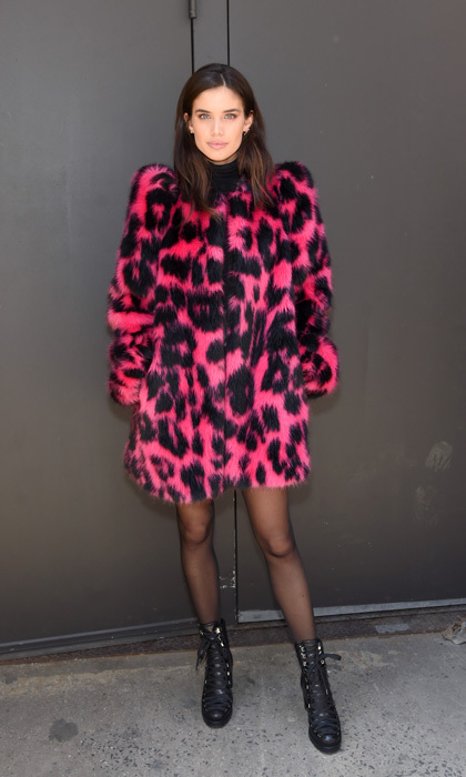 Victoria's Secret model Sarah Sampaio looked fierce in fur wearing a pink and black cheetah printed coat to the Marc Jacobs show.  