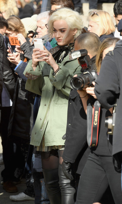 Katy Perry snapped photos of the models during the Marc Jacobs fashion show.