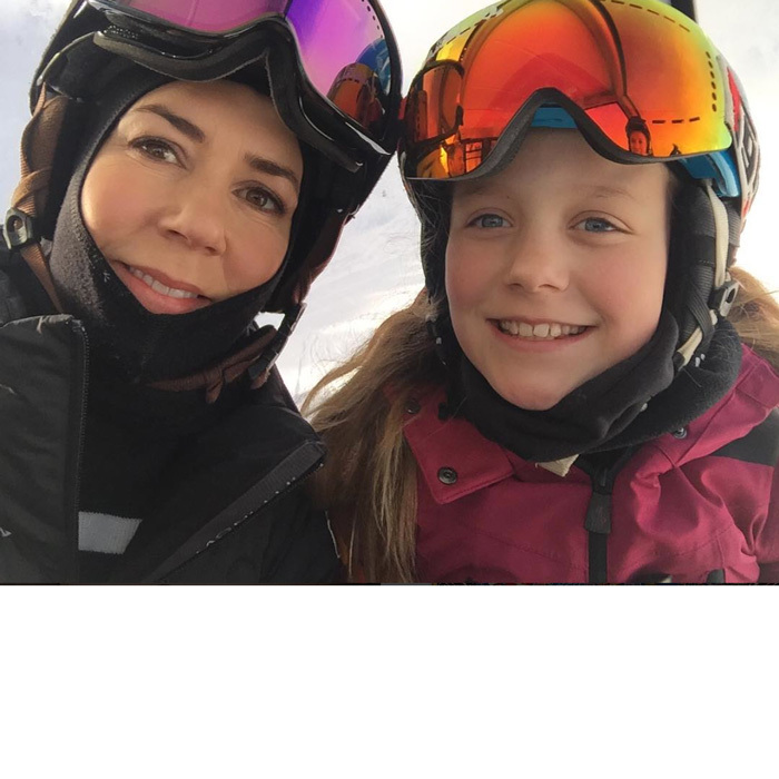 Crown Princess Mary shared a sweet moment with her eldest daughter Princess Isabella, snapping a selfie together as they made their way up the mountain on a ski lift.