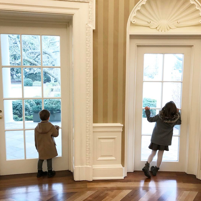 "Arabella and Joseph spent a morning at their grandfather, President Donald Trump's home, the White House, ""Watching Marine One land on the South Lawn.""