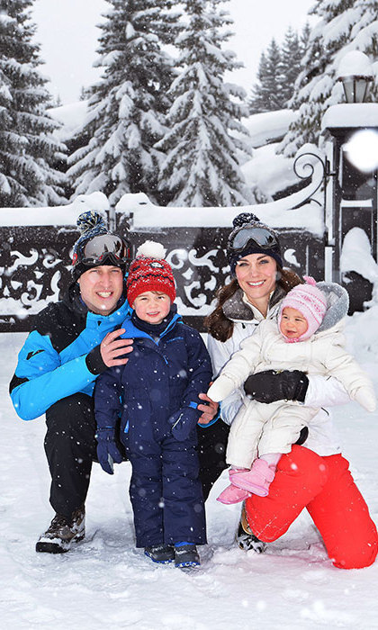 In the spring of 2016, Prince William, Duchess Kate, Prince George, and Princess Charlotte posed for a cute photo in the snow. The British royals enjoyed a break at their favorite ski destination, Courchevel in the French Alps. This was George and Charlotte's very first ski vacation.