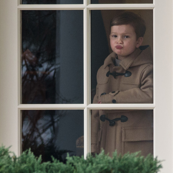 Son Joseph adorably peered out through a window of the Oval Office during a visit to the White House. 