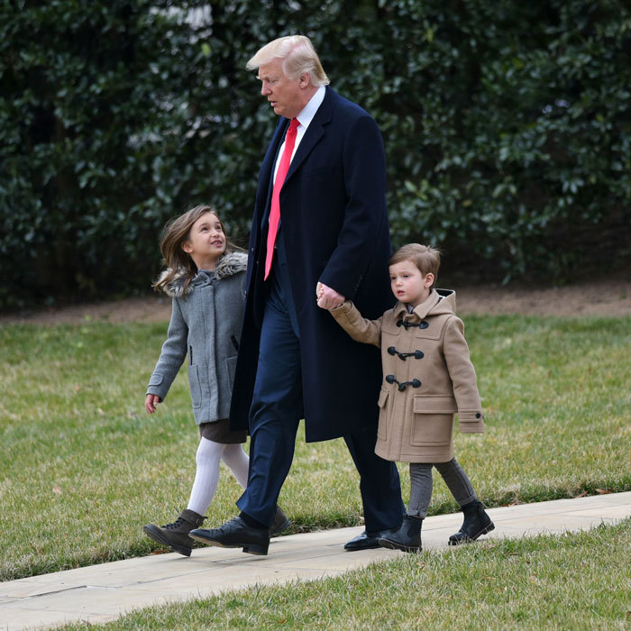 Arabella and Joseph Kushner strolled with their grandfather President Trump through the White House's South Lawn before boarding Marine One.