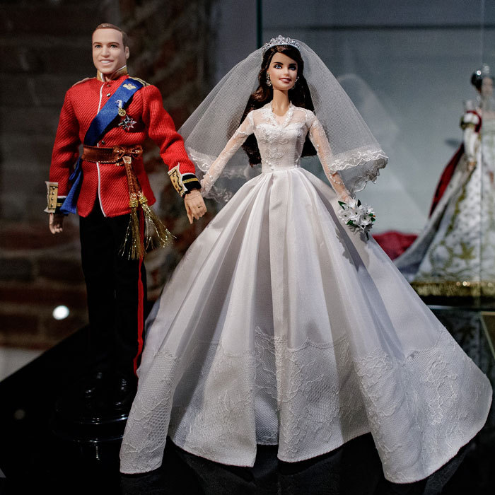 "Barbie dolls of Prince William and Kate Middleton went on display at Madrid's Fundacion Canal in an exhibition called ""Barbie, beyond the doll.""