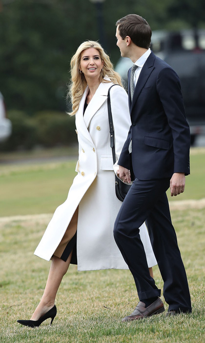 Ivanka was a vision in white wearing a double-breasted wool-garbadine coat by Jil Sander as she walked to Marine One to travel to South Carolina with her husband Jared Kushner and father President Trump.