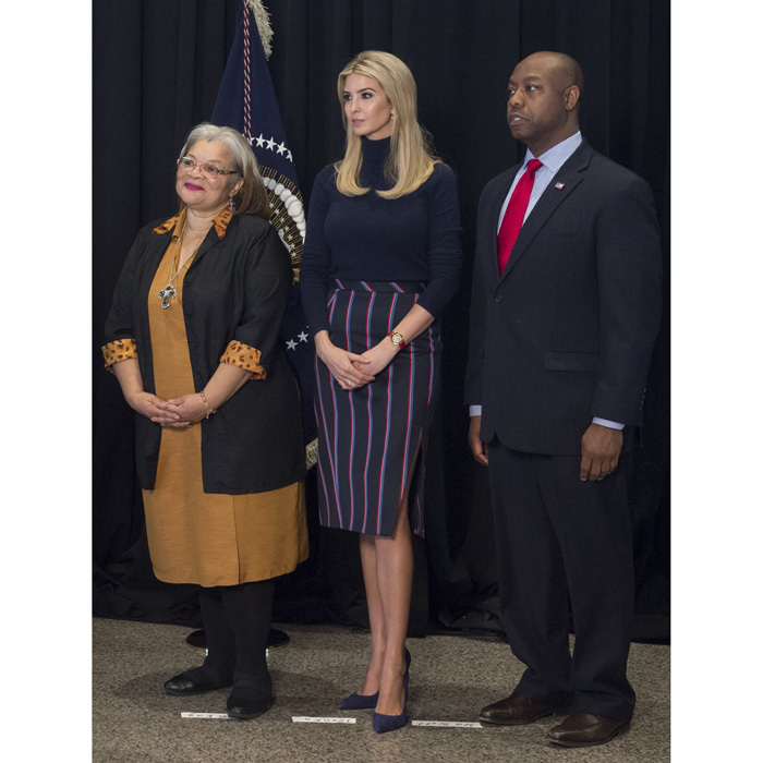 "The stylish first daughter stood in between Dr. Martin Luther King Jr.'s niece, Alveda King and US Senator Tim Scott at the Smithsonian National Museum of African American History and Culture in D.C. wearing Altuzarra's ""Monroe Striped Side-splitting Pencil Skirt,"" which she paired with a black turtleneck.