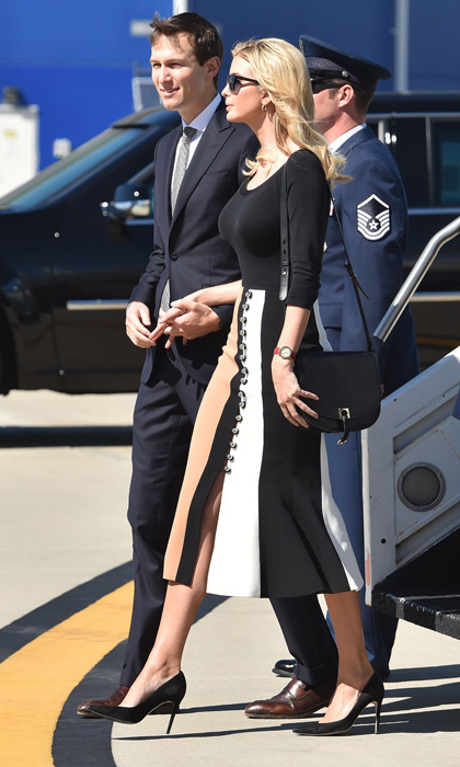 Ivanka showed off her fashion credentials arriving to Charleston International Airport wearing a trumpet flared skirt by David Koma.