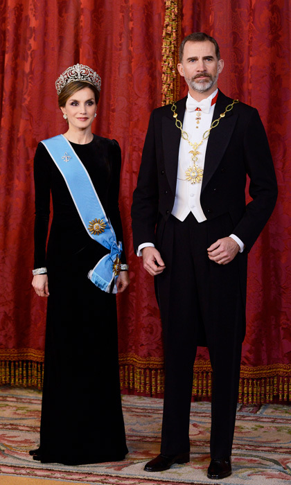 The Spanish monarch paired the sparkling headpiece with an elegant full-length gown. Letizia looked sophisticated beside her dapper husband King Felipe for the occasion.