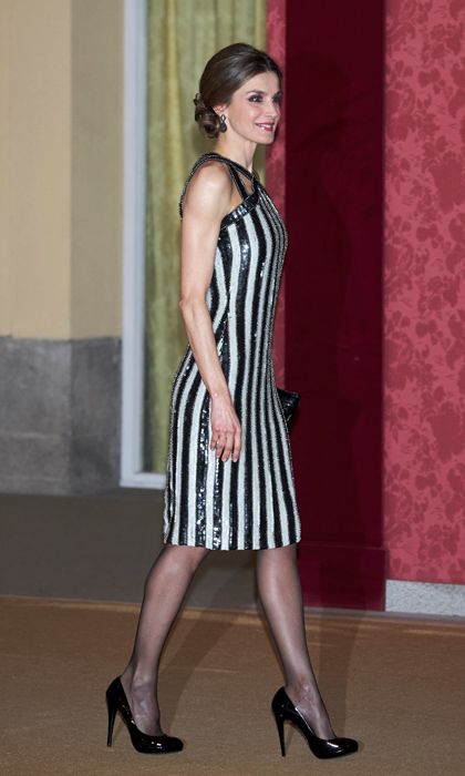 Queen Letizia of Spain turned heads in a sequin black and white cocktail number for a reception in her honor hosted by Argentina's President Mauricio Macri at El Pardo Palace.