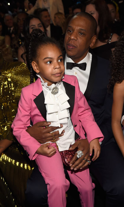 Blue Ivy looked sharp sitting on her dad Jay Z's lap in the front row of the 2017 Grammy Awards.