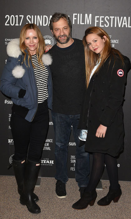 Judd Apatow was sandwiched between two of his favorite leading ladies, wife Leslie Mann and daughter Iris Apatow, at <i>The Big Sick</i> premiere during the 2017 Sundance Film Festival.