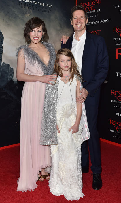 Milla Jovovich dazzled alongside her daughter Ever Anderson and husband Paul W.S. Anderson at the 2017 premiere of <i>Resident Evil: The Final Chapter</i>.
