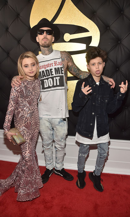 Travis Barker looked cool walking the red carpet of the 2017 Grammy Awards with his kids Alabama Barker and Landon Barker.
